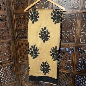 Beautiful black detailed beige saree
